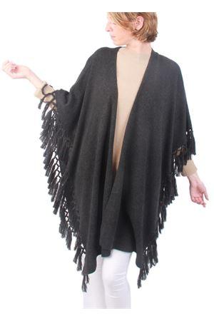 Giacca con frange in cachemire e lana grigio fumo Art Tricot | 3 | D7171 FRINGEGRIGIO SCURO