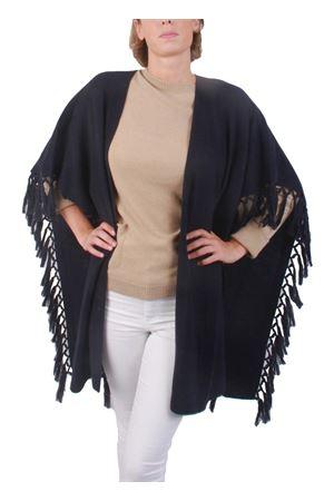 Giacca con frange in cachemire e lana nera Art Tricot | 3 | D7171 FRINGENERO