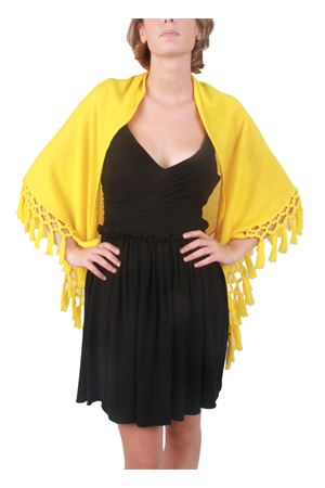 Wool handmade yellow shawl Art Tricot | 1375490853 | SCIALLE FRANGEGIALLO