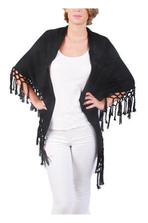 Scialle artigianale con frange in lana nero Art Tricot | 1375490853 | SCIALLE FRANGENERO