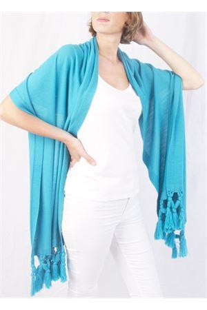 Stola in pura lana con frange azzurra Art Tricot | 61 | STOLA FRANGIATURCHESE
