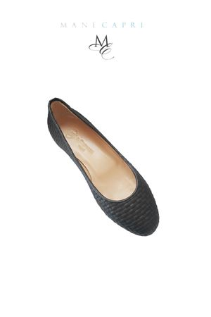 Black leather ballerina shoes Da Costanzo | 5032261 | INTRECCIATA NERONERO