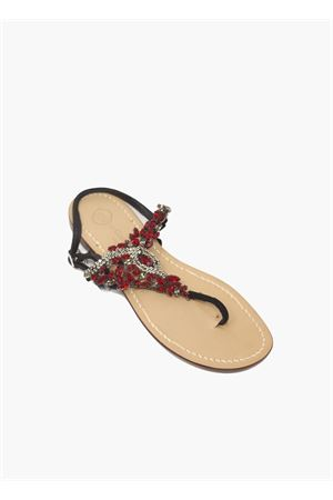 Blakc and red capri sandals  Da Costanzo | 5032256 | TRIANGLOREDBLACKERED