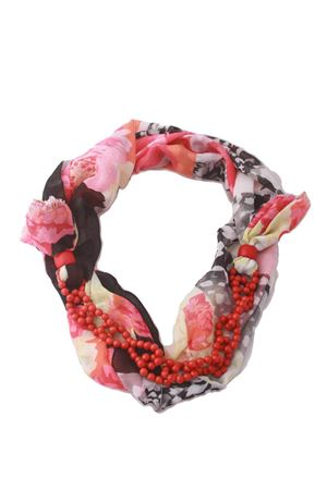 Flower fantasy cotton scarf decorated with red stones Grakko Fashion | -709280361 | GRCOLL FIORIROSA