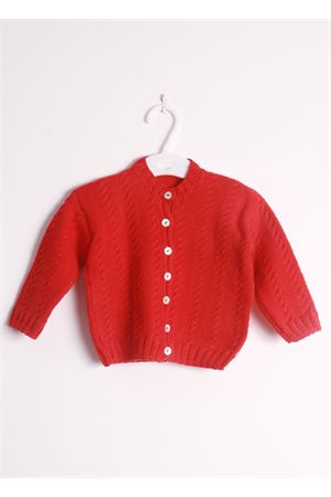 Wool red cardigan sweater for new born Il Filo di Arianna | 39 | CAR LAN 07ROSSO