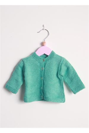 Green cotton cardigan sweater for new born Il Filo di Arianna | 39 | CARCOT 02 FRECCIAVERDE