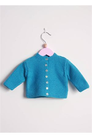 Turquoise cotton cardigan sweater for new born Il Filo di Arianna | 39 | CARCOT 06TURCHESE