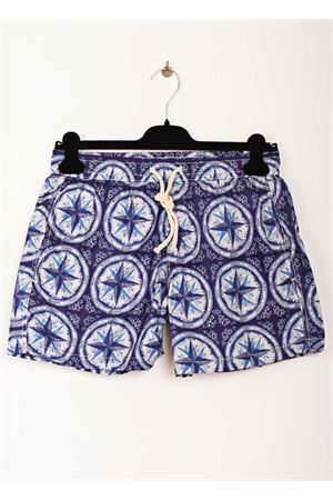 Wind rose pattern man swimsuit Aram Capri | 85 | MAIOLICA 4BLU