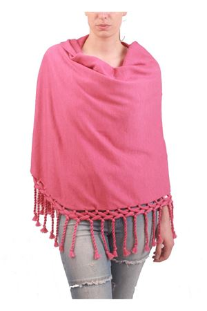 Handmade wool stole with fringes pink Art Tricot | 1375490853 | SCIALLE GRANDE FRANGEFUCSIA