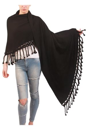 Handmade wool stole with fringes black Art Tricot | 1375490853 | SCIALLE GRANDE FRANGENERO