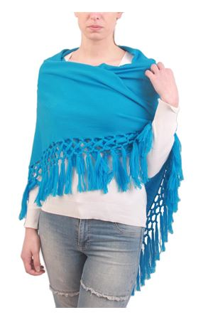 Handmade wool stole with fringes light blue Art Tricot | 1375490853 | SCIALLE MEZZA LUNAAZZURRO