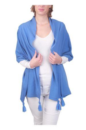 Stola in pura lana con pon pon azzurra Art Tricot | 61 | STOLA CAPRESEAZZURRO MARE
