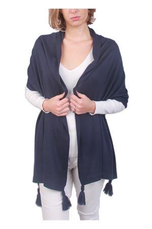 Stola in pura lana con pon pon blu Art Tricot | 61 | STOLA CAPRESEBLU