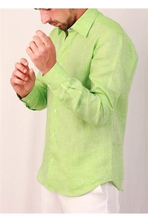 Men green  linen shirt Colori Di Capri | 6 | 7676VERDE