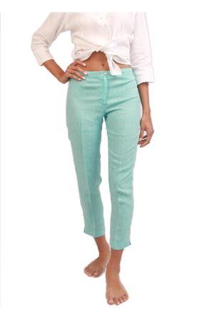 Turquoise Capri pants in pure linen Colori Di Capri | 9 | CAPRI DONNATURCHESE