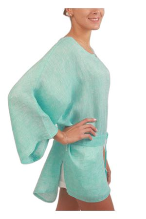 One size pure linen tunic  Colori Di Capri | 5032233 | CASACCA BICOLORETURCHESE