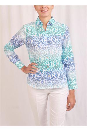 Camicia classica in lino a fantasia Colori Di Capri | 6 | CLASSICTURCHESE FIORI