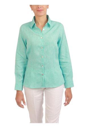 Turquoise linen shirt for woman Colori Di Capri | 6 | CLASSICTURCHESE