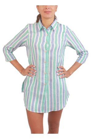 Camicia da donna in lino con fantasia righe Colori Di Capri | 6 | COFORT3/4AZZURRO