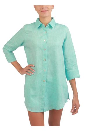 Woman shirt in pure linen with 3/4 sleeves Colori Di Capri | 6 | COFORT3/4TURCHESE