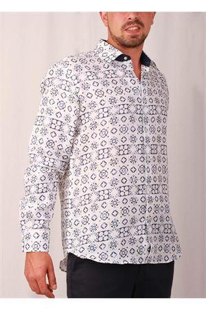 Men blue Maiolica linen shirt Colori Di Capri | 6 | LINE REG 2BLU MATTONELLE