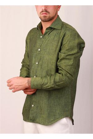 Men green linen shirt Colori Di Capri | 6 | LINE REGMILITARE