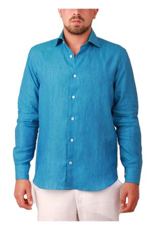 Men blue linen shirt Colori Di Capri | 6 | LINO REGPETROLIO