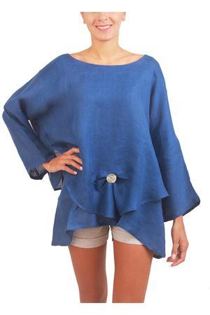 Elegante tunica in lino blu cobalto Colori Di Capri | 5032233 | LONDRABLU