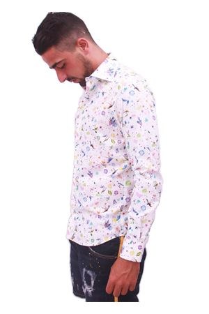 Men cotton shirt with parrots Colori Di Capri | 6 | PARROTSBIANCO