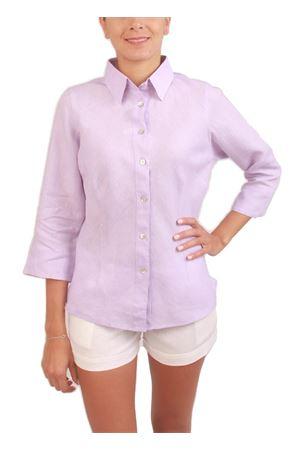 Camicia da donna in lino lilla Colori Di Capri | 6 | SBIECOLILLA