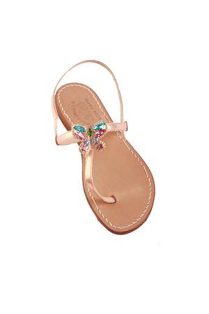 Sandali capresi rosa laminati con farfalla gioiello Cuccurullo | 5032256 | BUTTERFLYTROSA