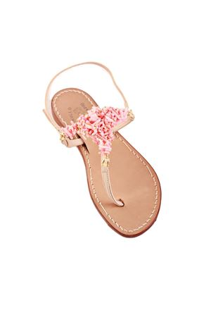 Sandali capresi con coralli rosa Cuccurullo | 5032256 | CORALTROSA