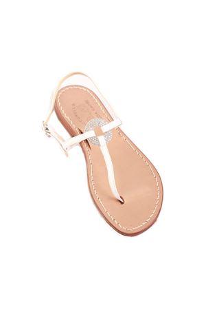 Sandali capresi bianchi con anello gioiello Cuccurullo | 5032256 | CRYSTALRINGBIANCO