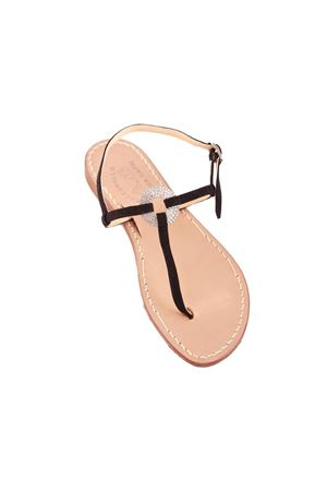 Black suede flip flop capri sandals with ring jewel Cuccurullo | 5032256 | CRYSTALRINGNERO SUEDE