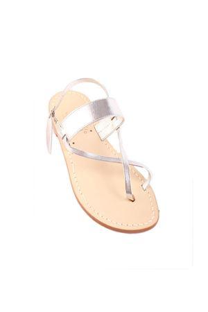 Sandali capresi argentati con con doppio incrocio Cuccurullo | 5032256 | FASCIA DOPPIO XARGENTO