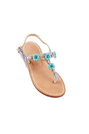 Light blue suede elegant sandals for baby girl  Cuccurullo | 5032256 | FIORI BABYAZZURRO