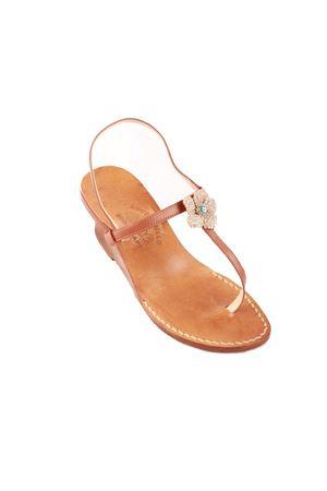 Wedge Capri sandals with flower jewel Cuccurullo | 5032256 | FLOWERT4MARRONE