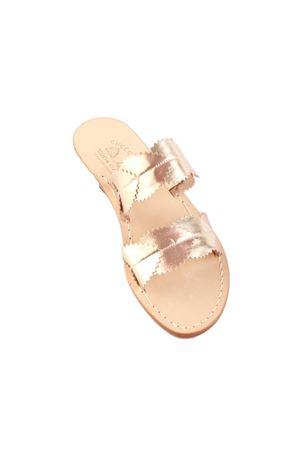 Platinum and rosy Capri sandals with leaves Cuccurullo | 5032256 | FOGLIE CAPRIPLATINO