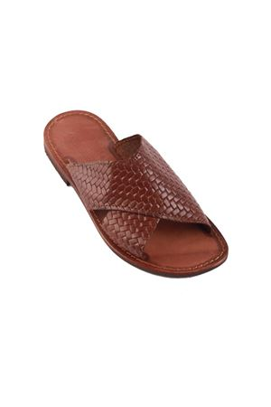 Brown braided leather sandals for men  Cuccurullo | 5032256 | PANTOFOLAMENMARRONE