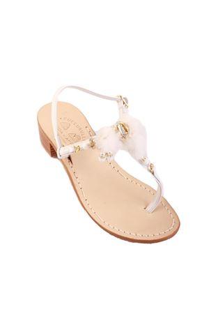 White pom pom Capri sandals with heel Cuccurullo | 5032256 | SNOWFLAKE3BIANCO