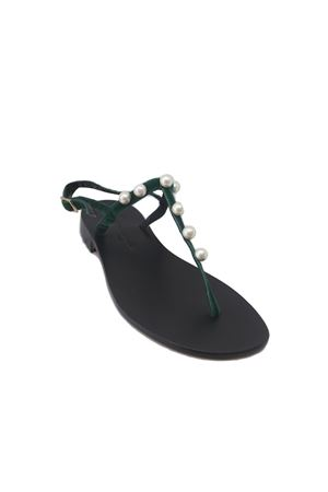 Sandalo caprese in velluto verde Da Costanzo | 5032256 | 20597CVERDE