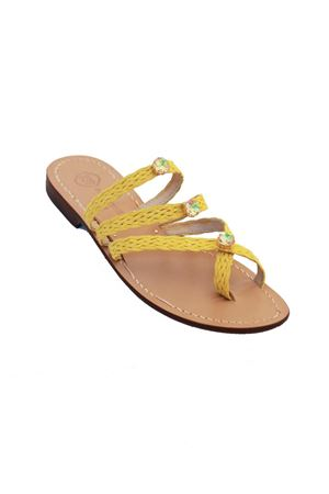 Yellow suede capri sandals with 3 jewels Da Costanzo | 5032256 | FORCAPLUCEGIALLO