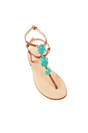 Da Costanzo brown and turquoise jewel capri sandals Da Costanzo | 5032256 | S3690TURCHESE