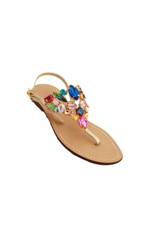 Multicolor crystals capri sandals Da Costanzo | 5032256 | S3960ORO