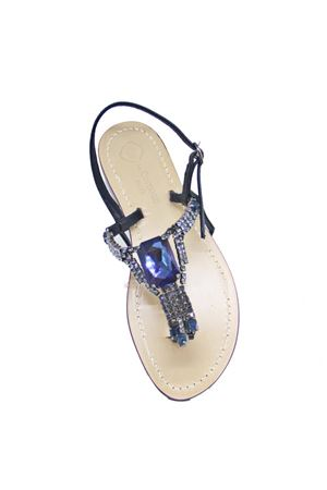 Handmade Capri jewel sandals with Swarovski Da Costanzo | 5032256 | S3967BLU