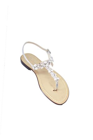 Handmade Capri jewel sandals with Swarovski Da Costanzo | 5032256 | S3969ARGENTO SPOSA
