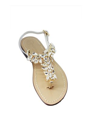 Handmade Capri jewel sandals with Swarovski Da Costanzo | 5032256 | S3969ORO PERLE