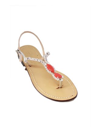 Handmade Capri Sandals with red Swarovski Da Costanzo | 5032256 | S3971ROSSO
