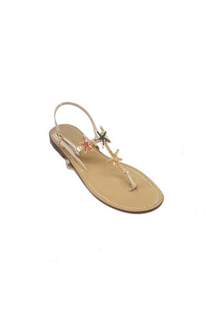 Handmade Capri Sandals with golden Swarovski Da Costanzo | 5032256 | S3972ORO