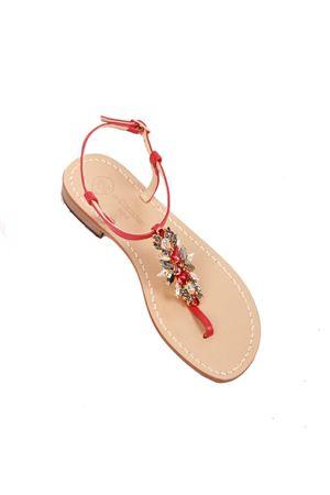 data di rilascio a04ad b791c Sandali gioiello bassi rossi - Da Costanzo - Manecapri